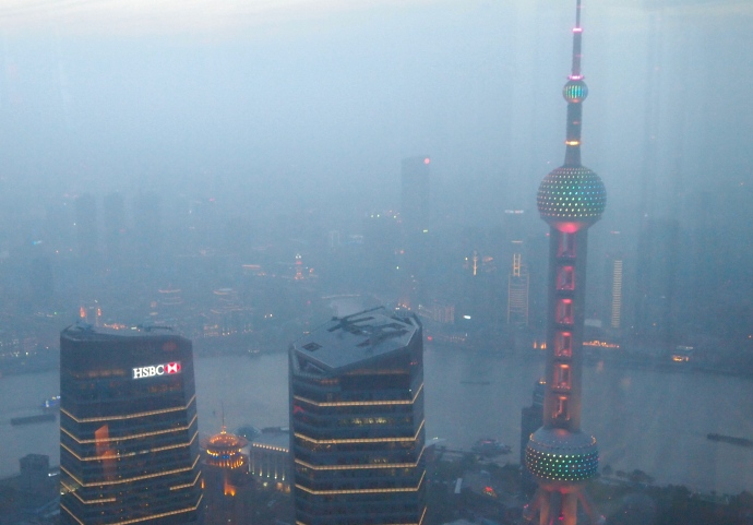The Oriental Pearl TV Tower from Cloud 9