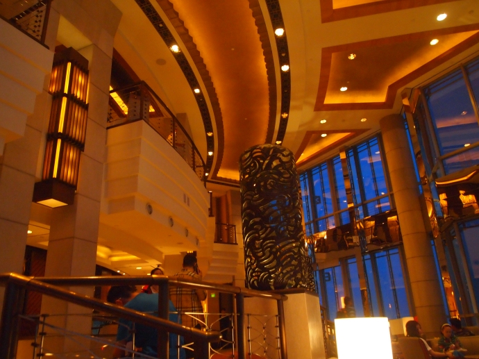 the 54th floor lobby of the Hyatt