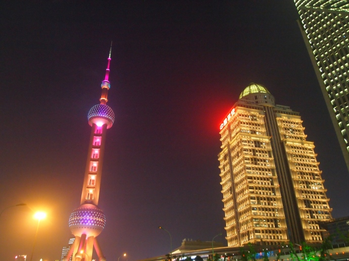 the colorful Oriental Pearl TV Tower