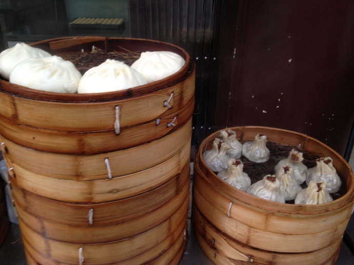dumplings in bamboo stacks