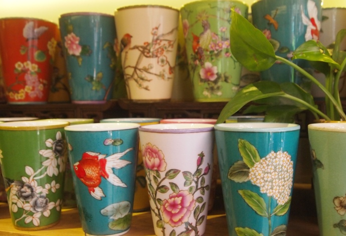 pretty cups all in a row