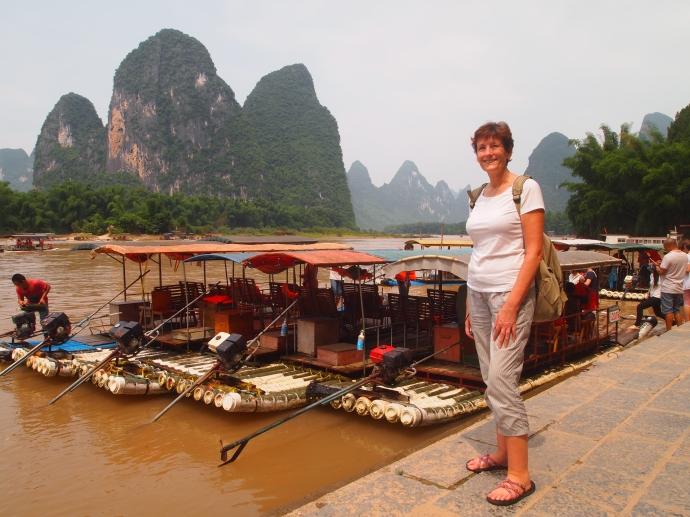 Erica at the Li River in Xingping