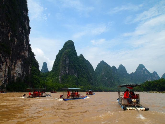 Moving up the Li River