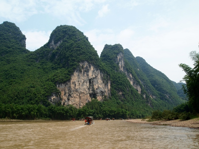 looming karst scenery along the Li River