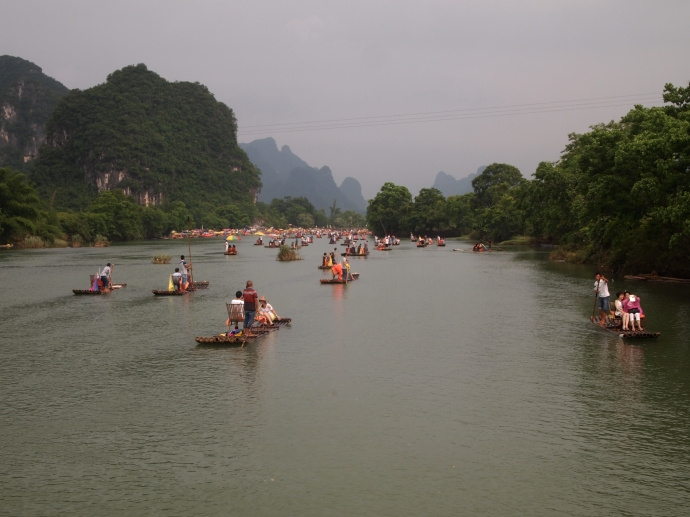 bamboo rafts on the Yulong River