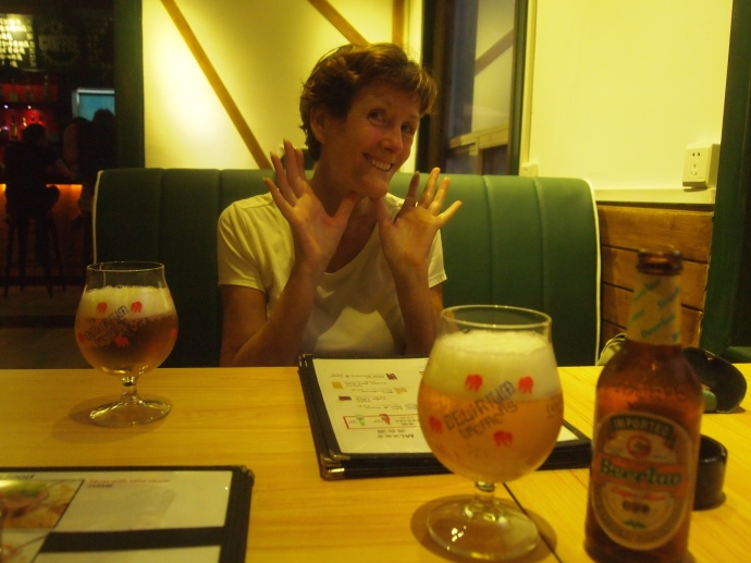 Erica over beers at the new Demo Bar by the Li River