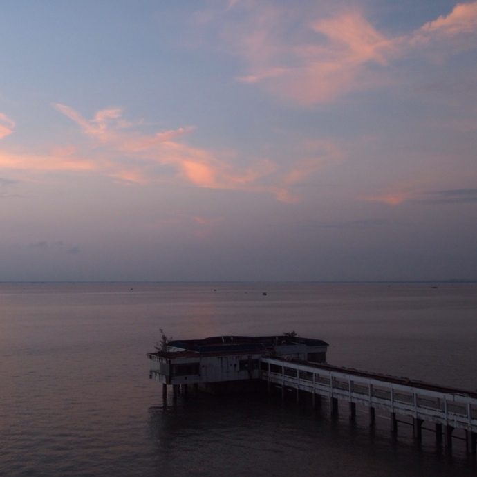 pink clouds over the dock