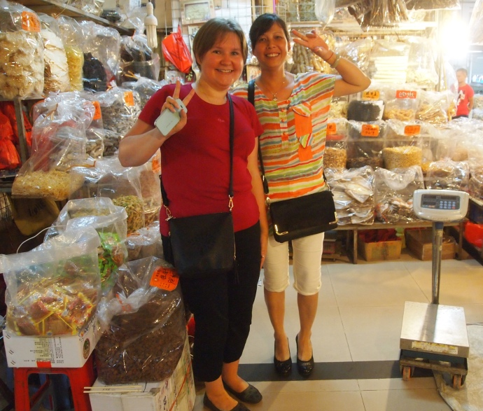 Mari and the dried fish vendor
