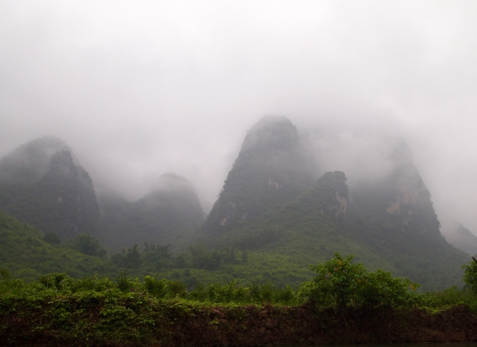 mist-covered mountains