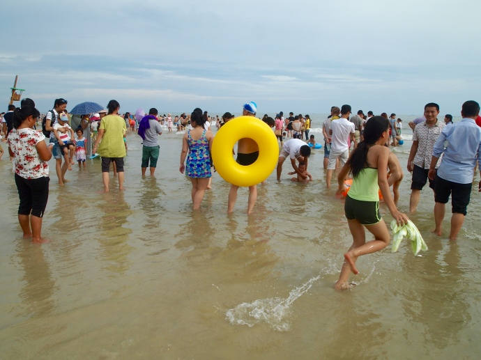 Chinese beachgoers