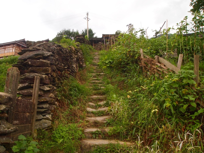 the steps uphill