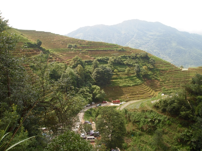 View of the terraces from the Longji International Youth Hostel